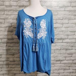 Indigo embroidered tunic top sz 3x